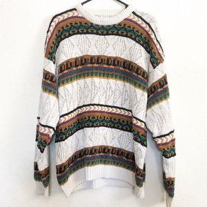 Vtg Chunky Knit Grandpa Sweater Sz M / L
